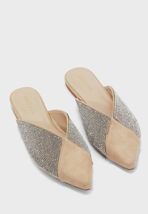 Diamante Side Flat Slip On