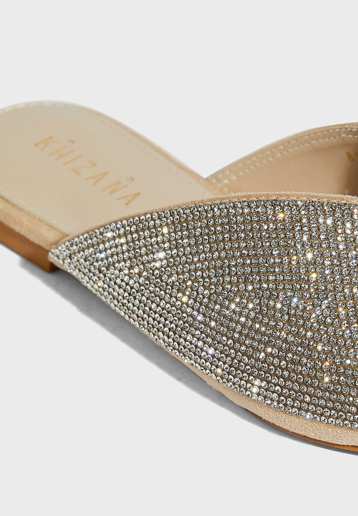 Diamante Side Flat Slip On