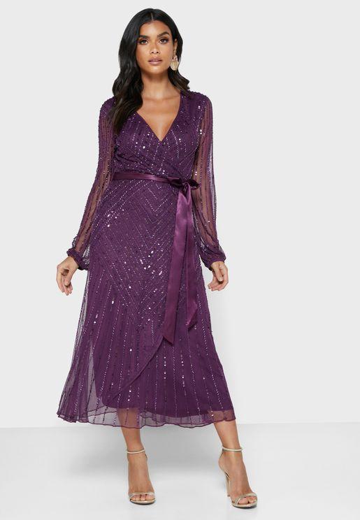 Mesh Sleeve Wrap Front Embellished Dress