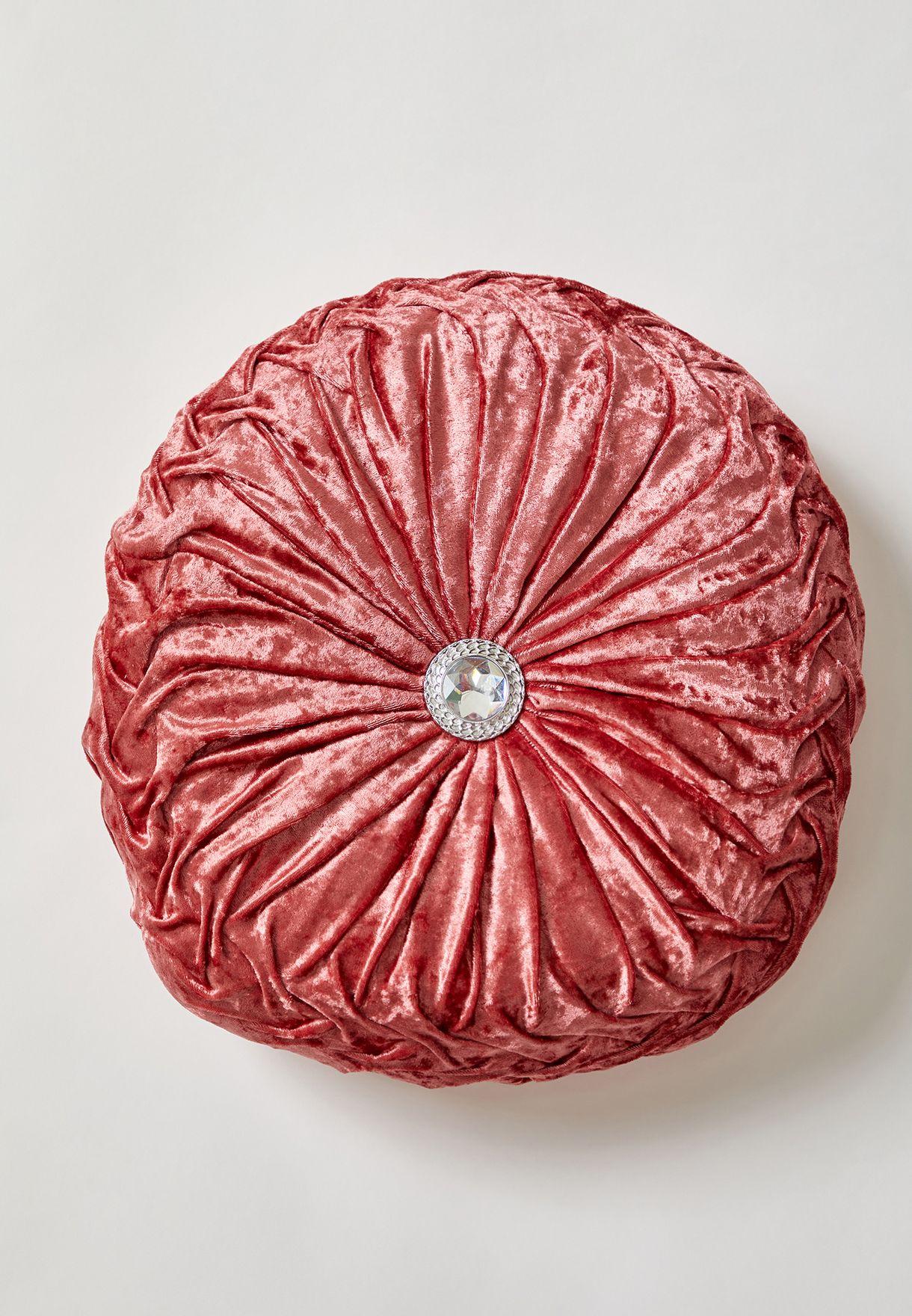 Crushed Velvet Round Cushion