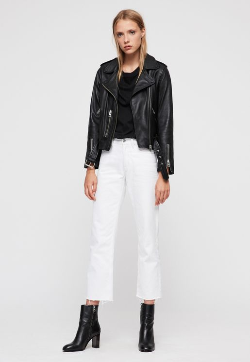 Balfern Belted Leather Biker Jacket