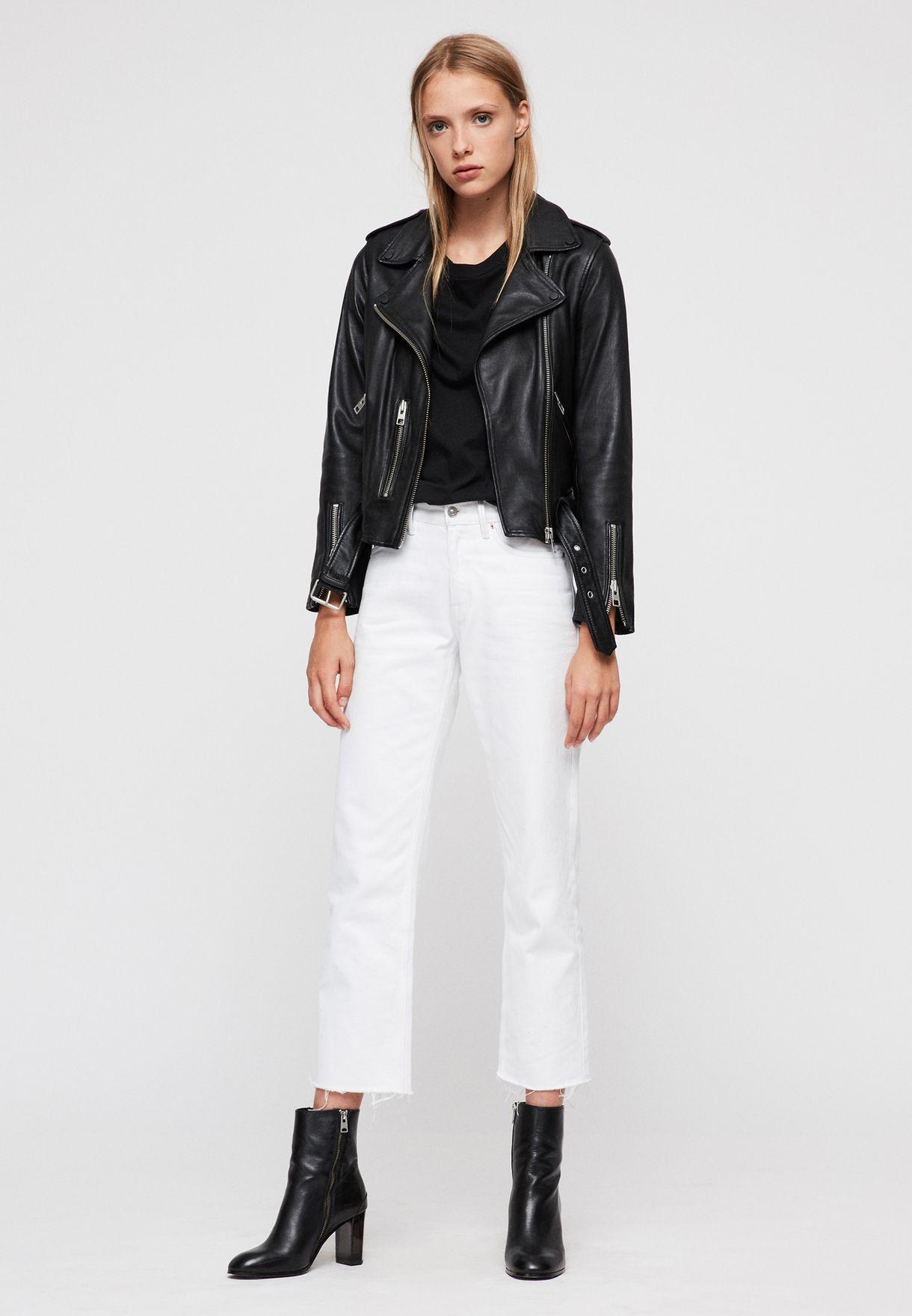 Balfern Belted Leather Biker Jacket