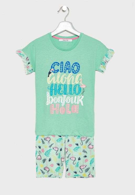 Little Slogan Pyjama Set