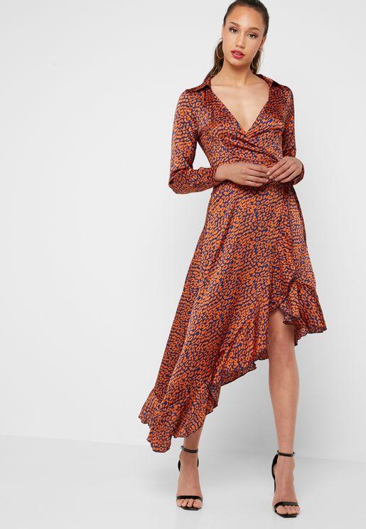 ea419d05a5 Asymmetric Animal Print Wrap Dress