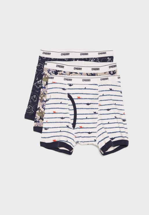 Kids 3 Pack Printed Boxer