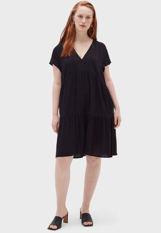 Plunge Neck Tiered Dress