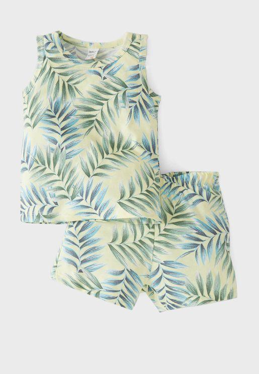 Kids Leaf Print Vest & Shorts Set