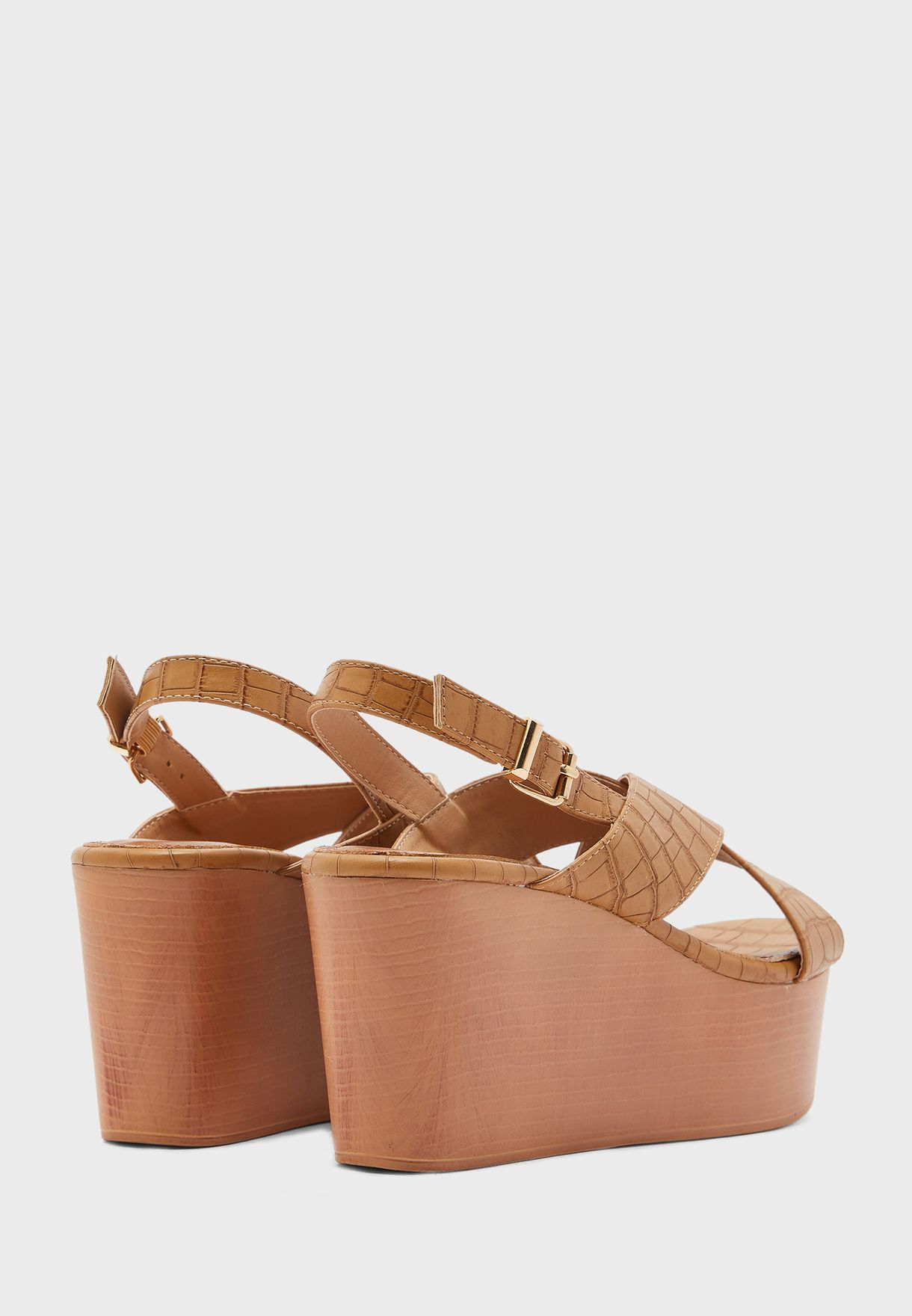 Cross Strap High Heel Wedge Sandal