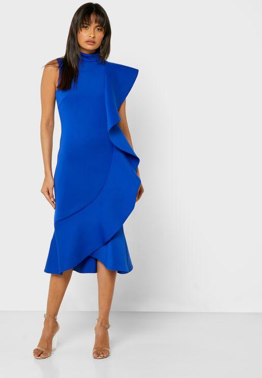 High Neck Ruffle Detail Bodycon Dress