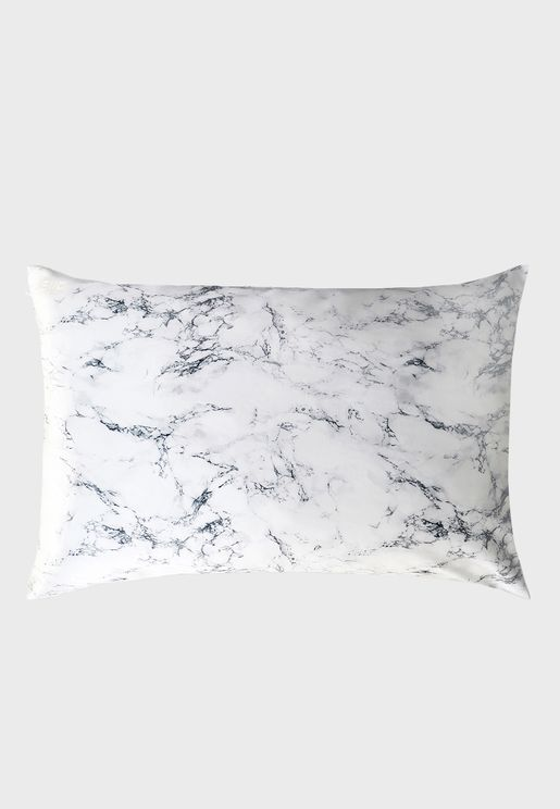 Queen Size Silk Pillow Case - Marble