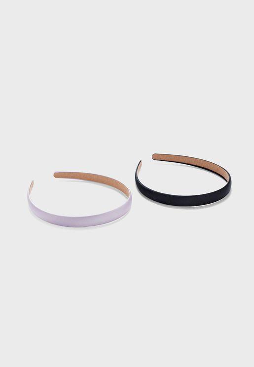 2 Pack Satin Skinny Headbands