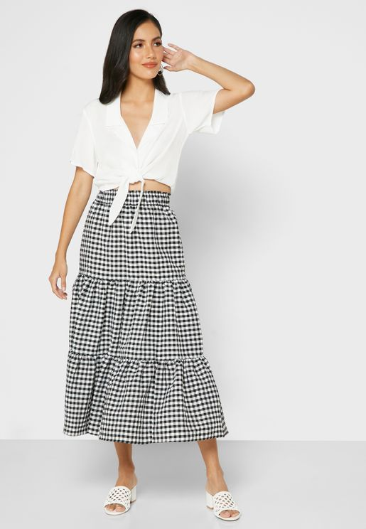 Gingham Tiered Hem Skirt