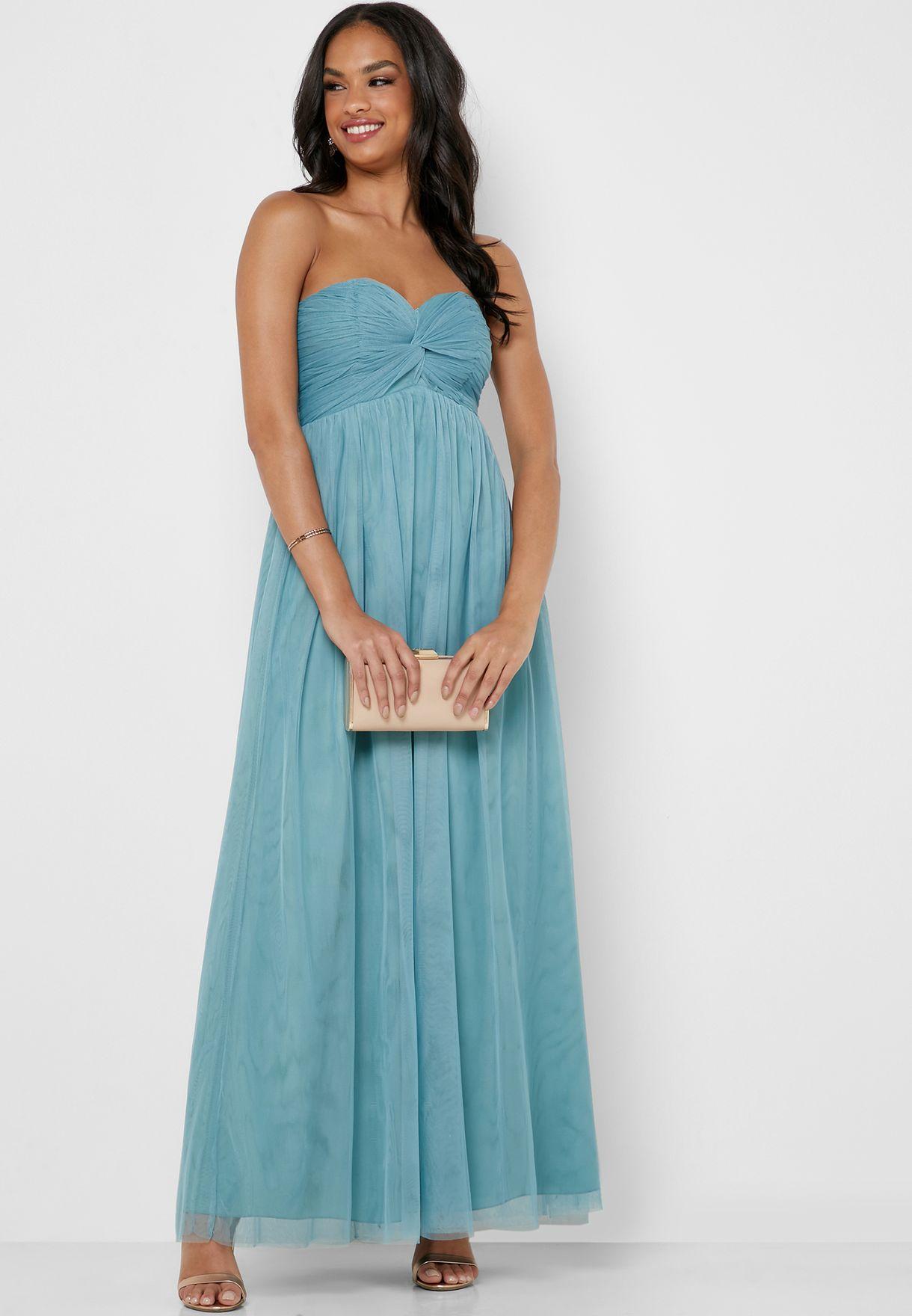 Tube Neck Lace Tulle Dress