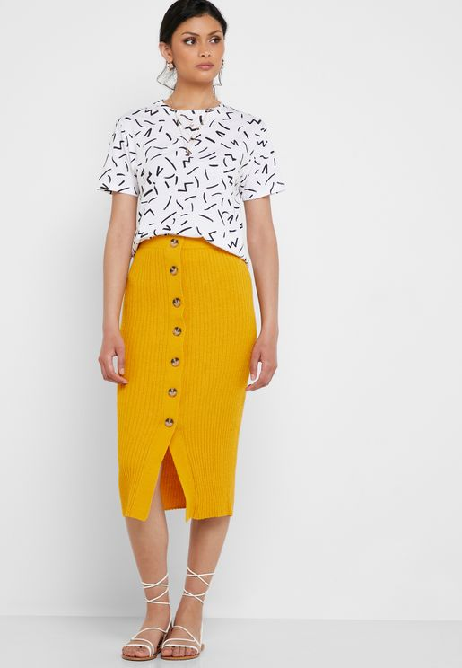 72af6fb47 Ribbed Button Down Midi Skirt