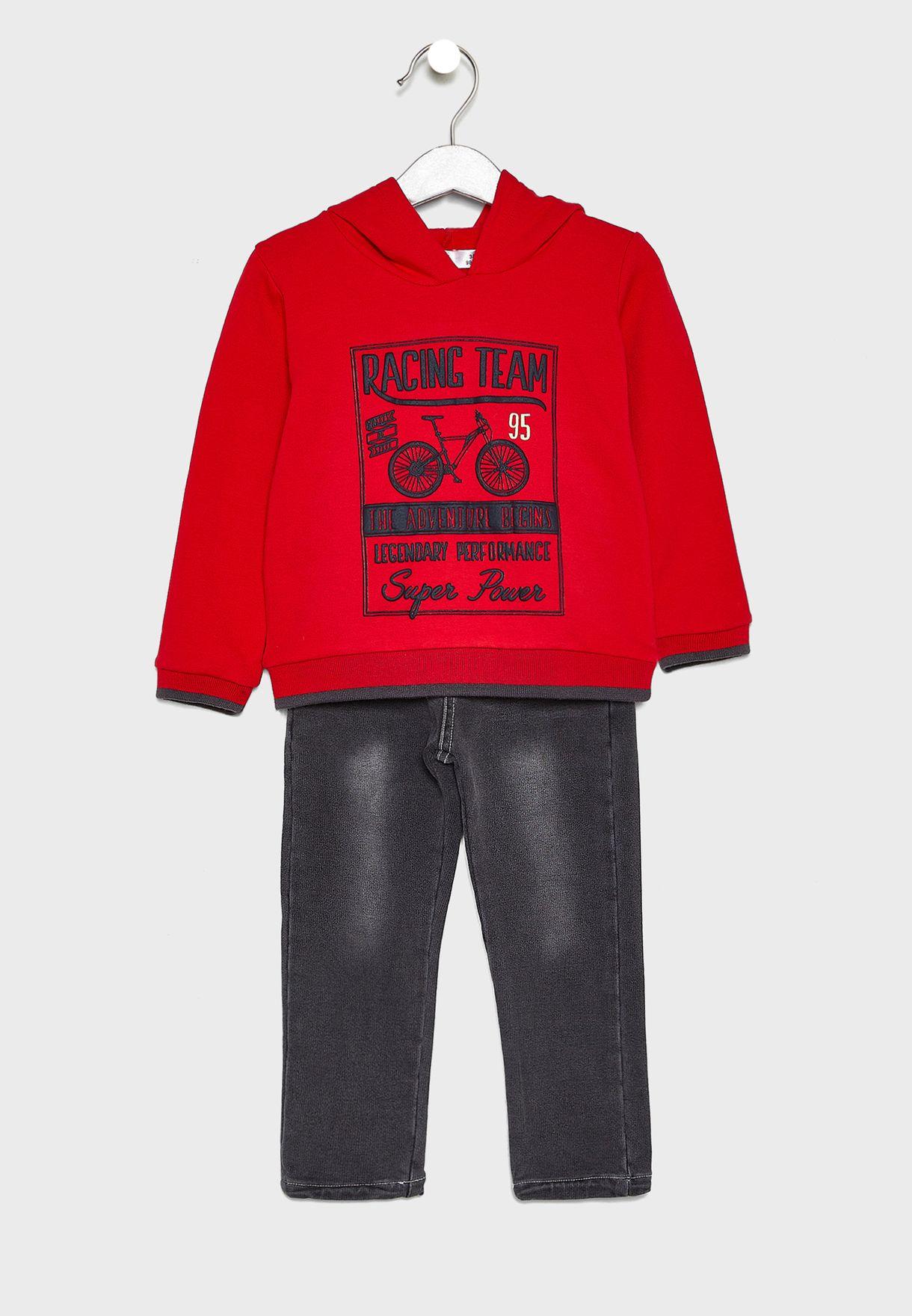 Little Hoddie + Jeans Set