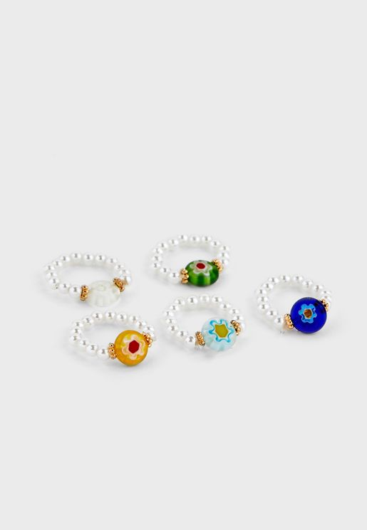 5 Pack Of Pearl And Flower Bead Rings