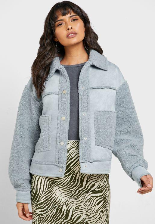Pocket Detail Faux Fur Coat