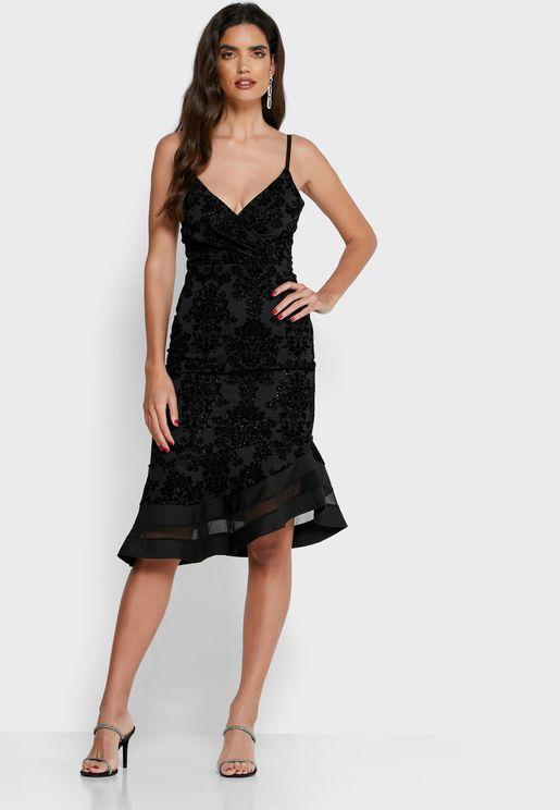 Floral Print Asymmetric Mesh Midi Dress