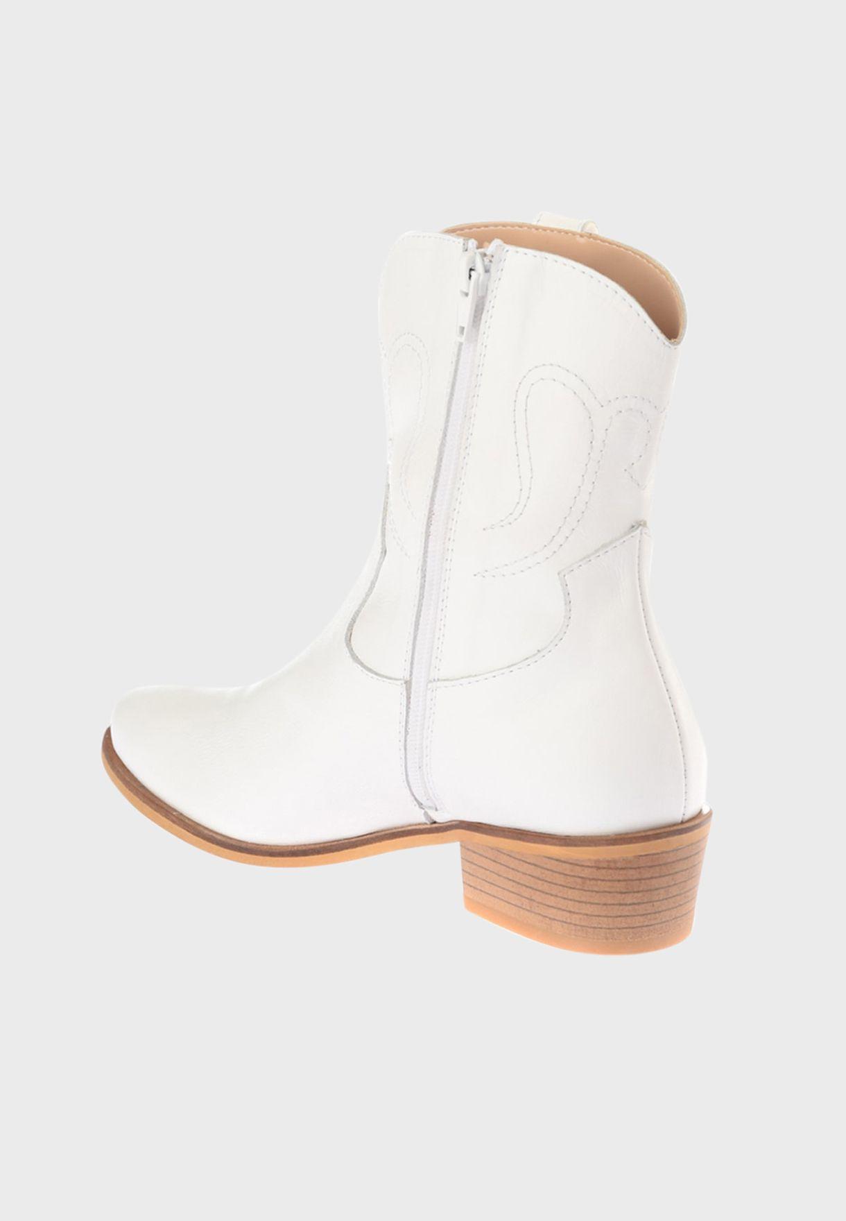 Zip Through Low Heel Boot