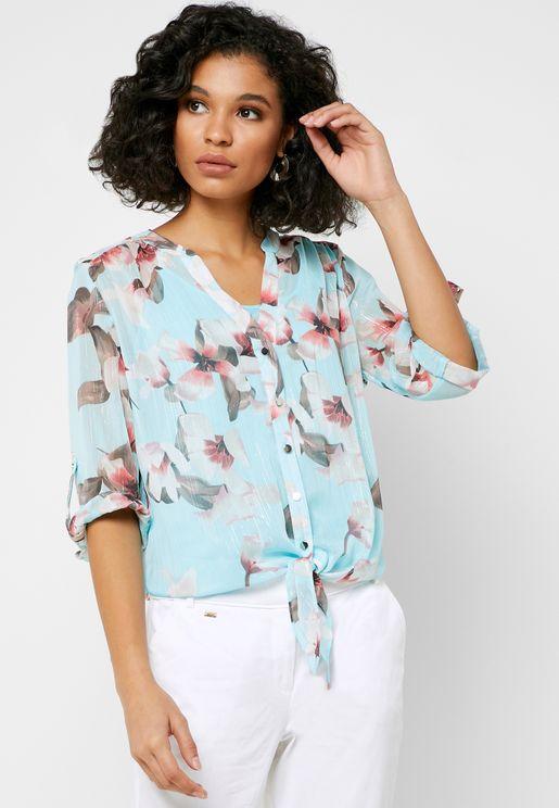 Front Tie Floral Print Shirt