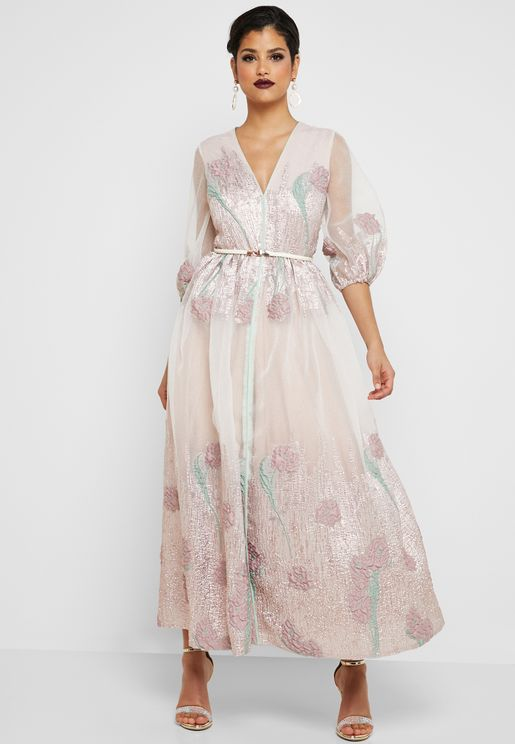 Puffed Sleeve Foil Print Dress