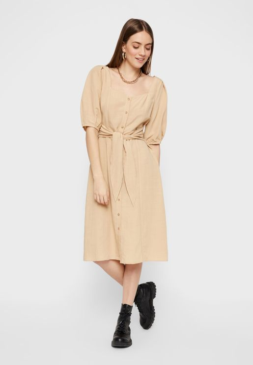 Tie Waist Puff Sleeve Dress
