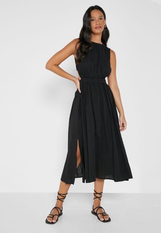 Elastic Detail Cut Out Dress