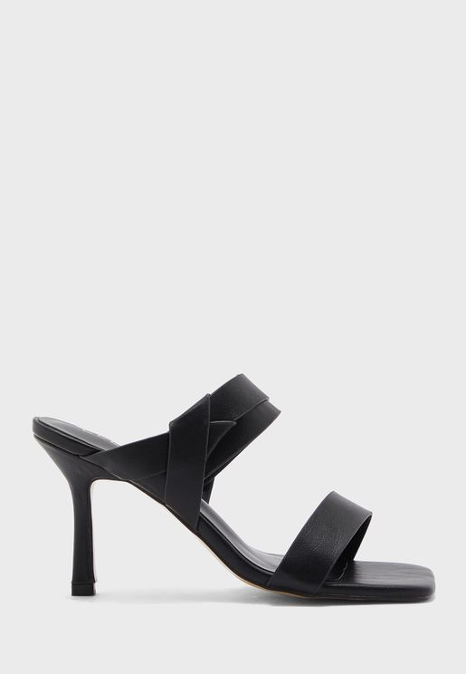 Square Toe Double Strap Detail Mule Sandal