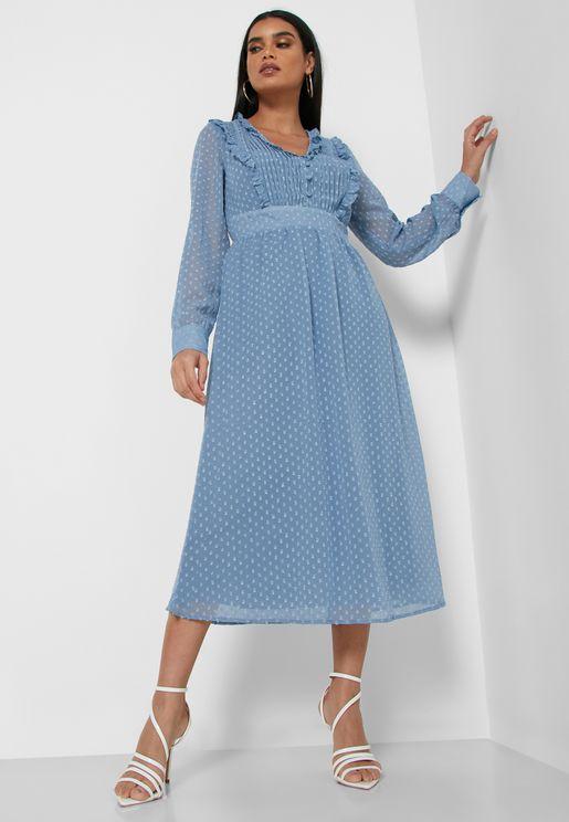Dotted Mesh Overlay Ruffle Midi Dress