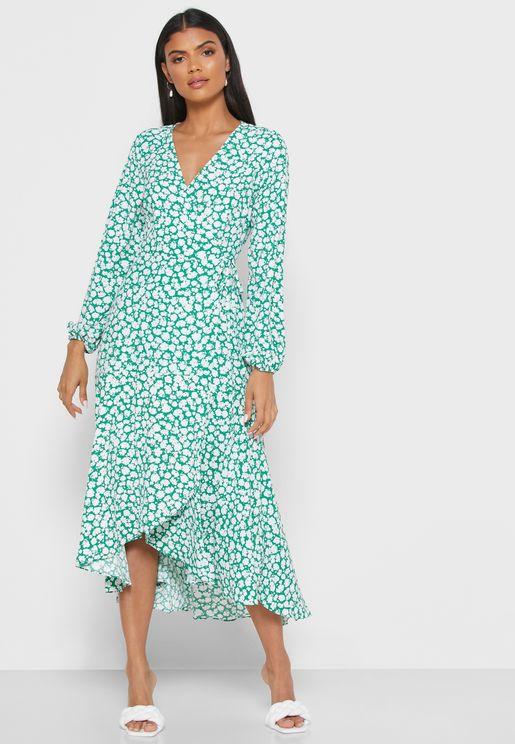 High Low Printed Wrap Dress
