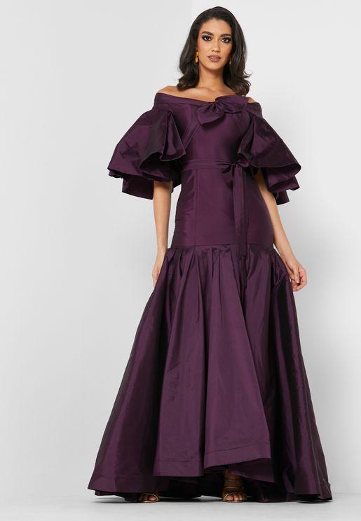 Bow Detail Bardot Dress