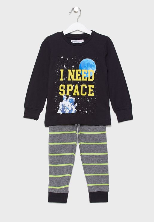 Little Graphic T-Shirt + Striped Pyjama Set