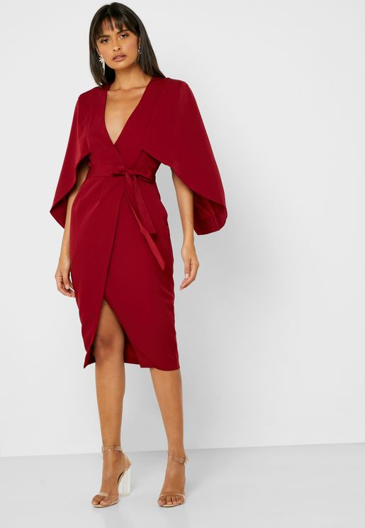 Tie Waist Wide Sleeve Wrap Dress