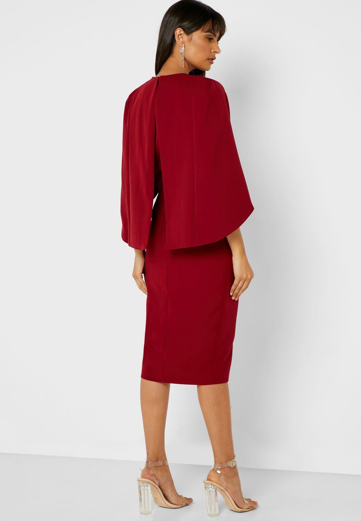 Tie Waist Wide Sleeve Wrap Dress