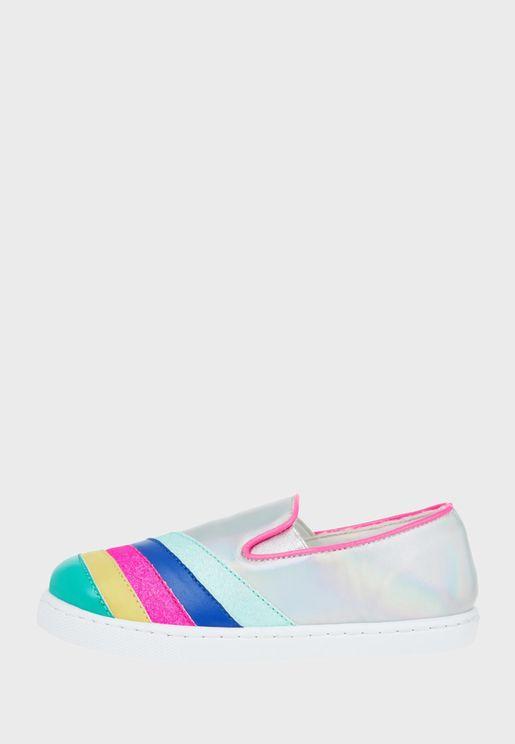 Kids Rainbow Strip Slip On