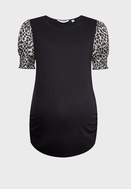 Leopard Print Puff Sleeve T-Shirt