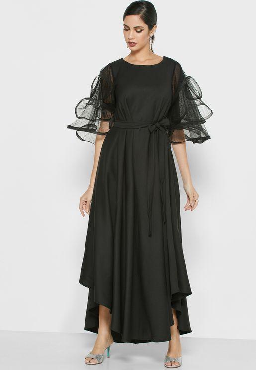 فستان طبقات باكمام شبك