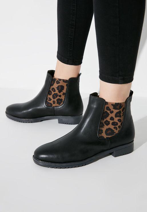 Leopard Detail Low Heel Boot
