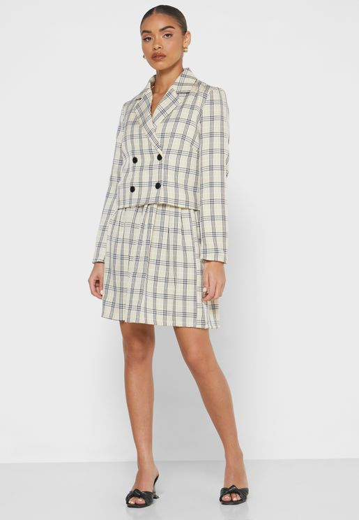 Checked Double Breasted Blazer Mini Skirt Set