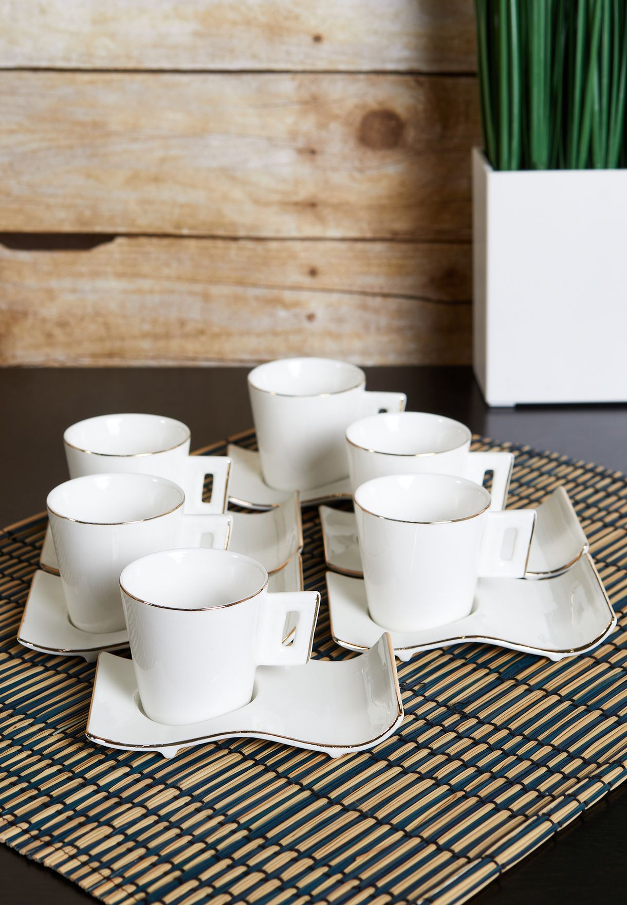 Set of 6 Espresso Mugs and Saucers