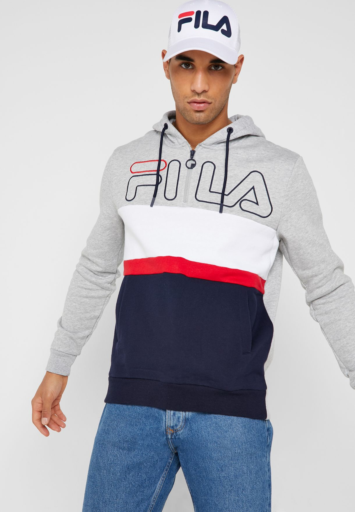 865d5a7bbeb6 Shop Fila grey Rumi Hoodie LM911371-289 for Men in Kuwait - 41040AT04ZIP