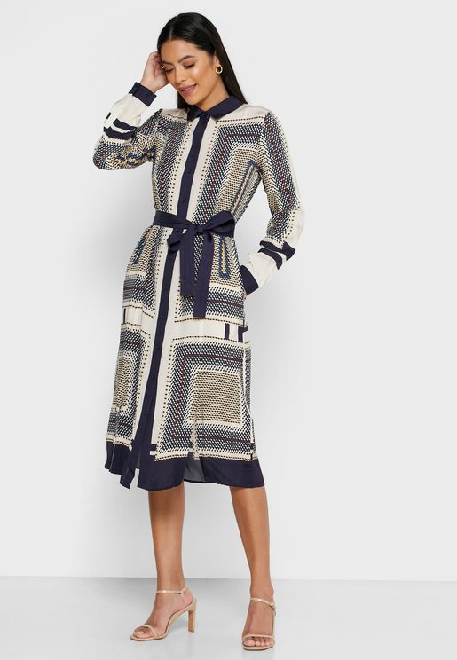 Adelita Geo Print Shirt Dress