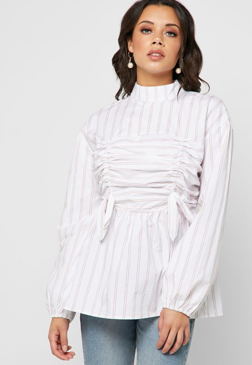 High Neck Striped Blouse