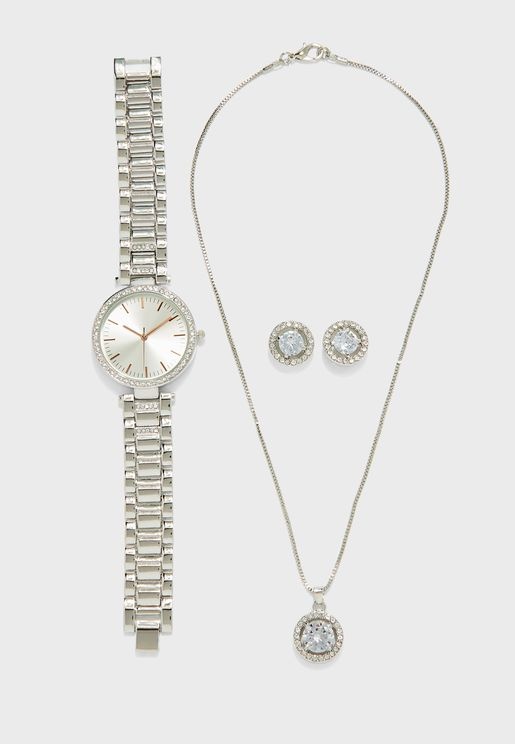 Two Tone Watch And 2 Piece Jewellery Set
