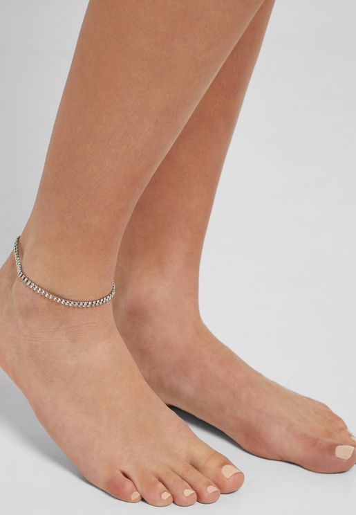 Diamante Detail Double Chain Anklet