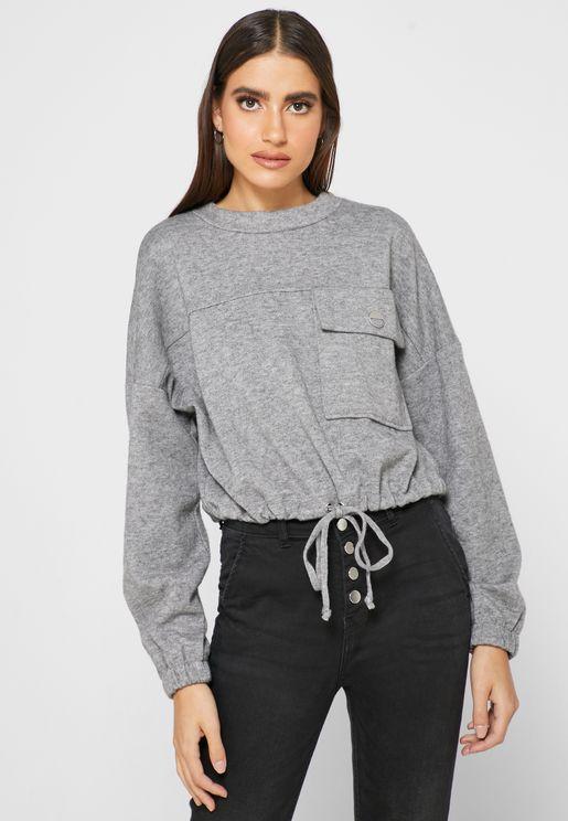 Tie Waist Crop Sweatshirt