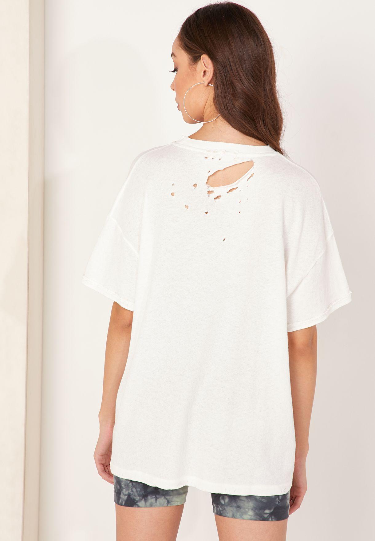 Lucky Cut Out Shoulder T-Shirt