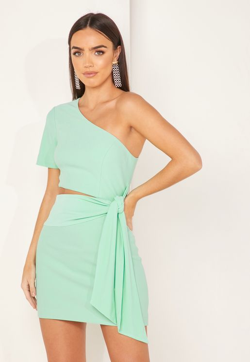 Daniella One Shoulder Tie Waist Dress