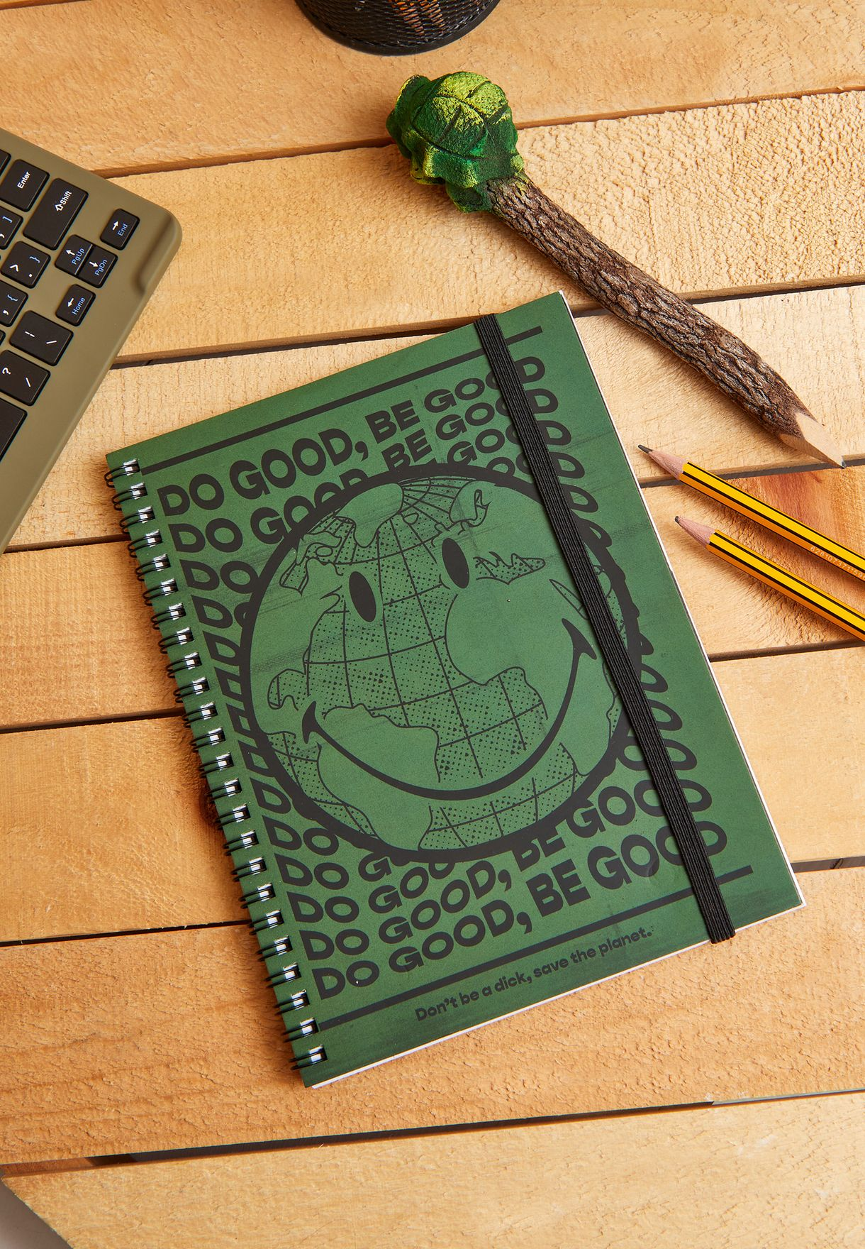 A5 Smiley Face Spinout Notebook - Khaki
