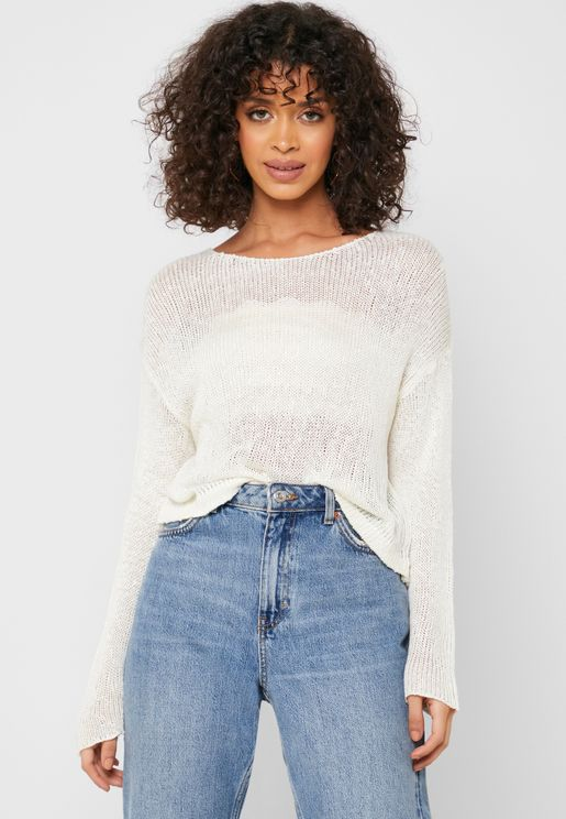 Semi Sheer Knitted Sweater